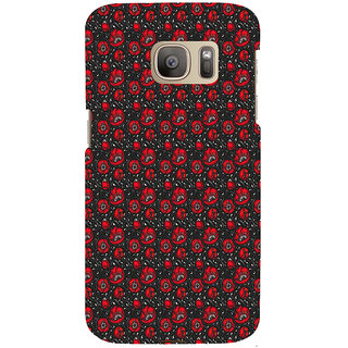 ifasho Animated Pattern small red rose flower with black background Back Case Cover for Samsung Galaxy S7 Edge