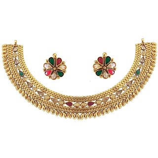 Rejewel 22K Gold Plated Antique Necklace set for Women.