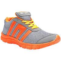 Port Men's Rock Orange Gray Mesh Running/Gym Sports Shoes