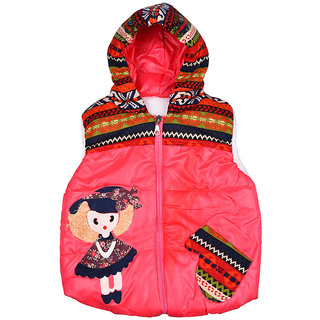 LOL - Land Of Littles Sleeveless hooded jacket - Pink color in Color Red For Girls & Boys