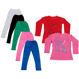 IndiWeaves Girls Cotton Full Sleeves Printed T-Shirt and Cotton Legging (Pack of 7)_White::Black::Pink::Green::Blue::Red::Pink_Size: 6-7 Year