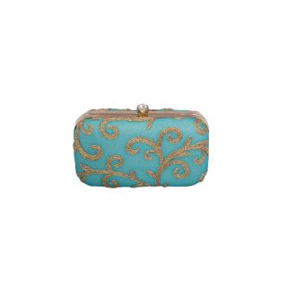 Turq and gold designer clutch box
