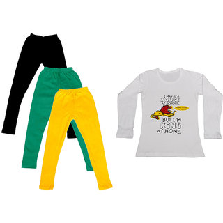 IndiWeaves Girls Cotton Full Sleeves Printed T-Shirt and Cotton Legging (Pack of 4)_Black::Green::Yellow::white_Size: 6-7 Year