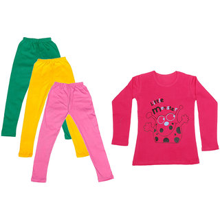 IndiWeaves Girls Cotton Full Sleeves Printed T-Shirt and Cotton Legging (Pack of 4)_Green::Yellow::Pink::Red_Size: 6-7 Year
