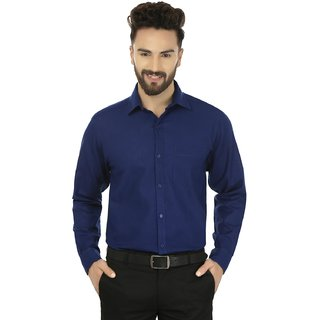 First Row Blue Regular Fit Cotton Blend Formal Shirt