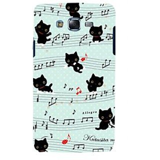 ifasho Animated Pattern design black and white music symbols and cats Back Case Cover for Samsung Galaxy J7