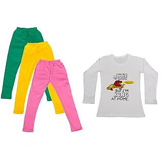 IndiWeaves Girls Cotton Full Sleeves Printed T-Shirt and Cotton Legging (Pack of 4)_Green::Yellow::Pink::white_Size: 6-7 Year