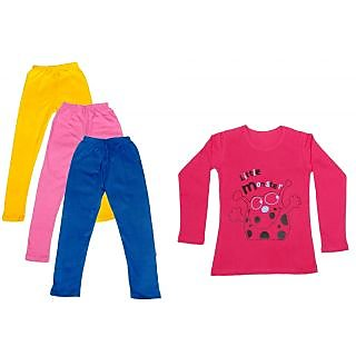 IndiWeaves Girls Cotton Full Sleeves Printed T-Shirt and Cotton Legging (Pack of 4)_Yellow::Pink::Blue::Red_Size: 6-7 Year