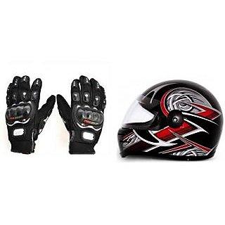 Stylish Helmet with ISI Mark+ Black Pro Biker Gloves