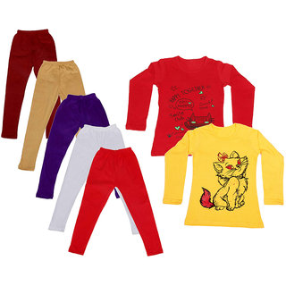 IndiWeaves Girls Cotton Full Sleeves Printed T-Shirt and Cotton Legging (Pack of 7)_Maroon::Beige::White::Purple::Red::Red::Yellow_Size: 6-7 Year