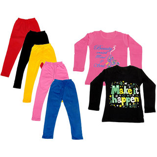IndiWeaves Girls Cotton Full Sleeves Printed T-Shirt and Cotton Legging (Pack of 7)_Red::Black::Pink::Yellow::Blue::Pink::Black_Size: 6-7 Year