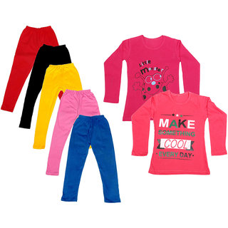 IndiWeaves Girls Cotton Full Sleeves Printed T-Shirt and Cotton Legging (Pack of 7)_Red::Black::Pink::Yellow::Blue::Red::Red_Size: 6-7 Year