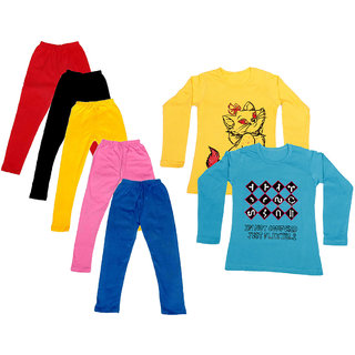 IndiWeaves Girls Cotton Full Sleeves Printed T-Shirt and Cotton Legging (Pack of 7)_Red::Black::Pink::Yellow::Blue::Yellow::Blue_Size: 6-7 Year