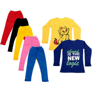 IndiWeaves Girls Cotton Full Sleeves Printed T-Shirt and Cotton Legging (Pack of 7)_Red::Black::Pink::Yellow::Blue::Yellow::Purple_Size: 6-7 Year