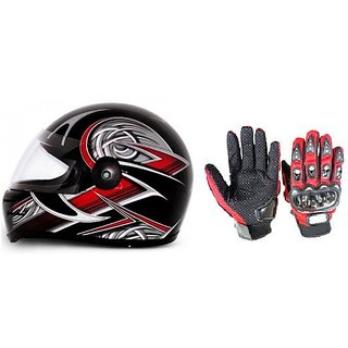 Stylish Helmet with ISI Mark+ RED Pro Biker Gloves