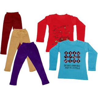 IndiWeaves Girls Cotton Full Sleeves Printed T-Shirt and Cotton Legging (Pack of 5)_Maroon::Beige::Purple::Red::Blue_Size: 6-7 Year