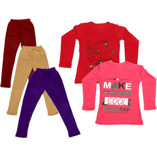 IndiWeaves Girls Cotton Full Sleeves Printed T-Shirt and Cotton Legging (Pack of 5)_Maroon::Beige::Purple::Red::Red_Size: 6-7 Year