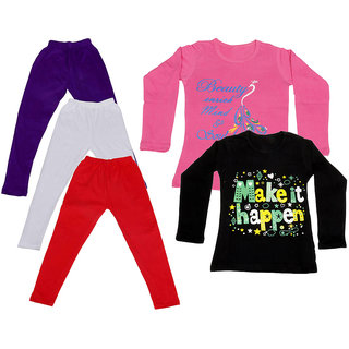 IndiWeaves Girls Cotton Full Sleeves Printed T-Shirt and Cotton Legging (Pack of 5)_Purple::White::Red::Pink::Black_Size: 6-7 Year