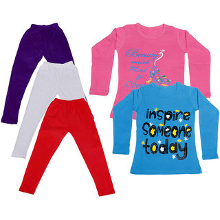 IndiWeaves Girls Cotton Full Sleeves Printed T-Shirt and Cotton Legging (Pack of 5)_Purple::White::Red::Pink::Blue_Size: 6-7 Year