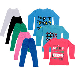 IndiWeaves Girls Cotton Full Sleeves Printed T-Shirt and Cotton Legging (Pack of 8)_White::Black::Pink::Green::Blue::Blue::Red::Blue_Size: 6-7 Year