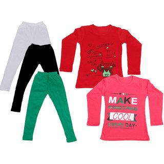 IndiWeaves Girls Cotton Full Sleeves Printed T-Shirt and Cotton Legging (Pack of 5)_White::Black::Green::Red::Red_Size: 6-7 Year