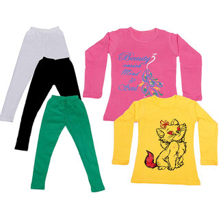 IndiWeaves Girls Cotton Full Sleeves Printed T-Shirt and Cotton Legging (Pack of 5)_White::Black::Green::Pink::Yellow_Size: 6-7 Year