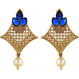 Fabula's Gold & Blue Zircon American Diamond AD CZ  & Pearl Traditional Ethnic Jewellery Jewellery Filigree Drop Earrings for Women, Girls & Ladies
