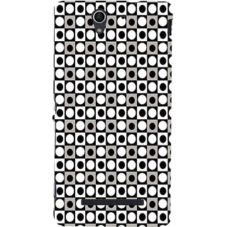 ifasho Modern Theme of black and white dots inside Square Back Case Cover for Sony Xperia C3 Dual