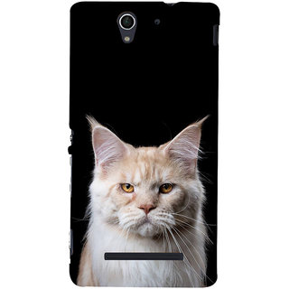 ifasho Innocent Cat with brown Eyes Back Case Cover for Sony Xperia C3 Dual