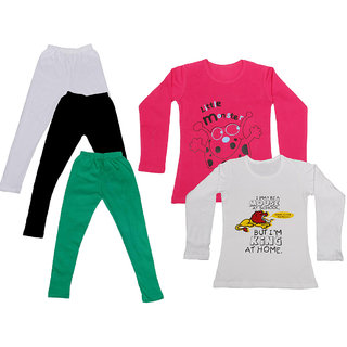 IndiWeaves Girls Cotton Full Sleeves Printed T-Shirt and Cotton Legging (Pack of 5)_White::Black::Green::Red::white_Size: 6-7 Year