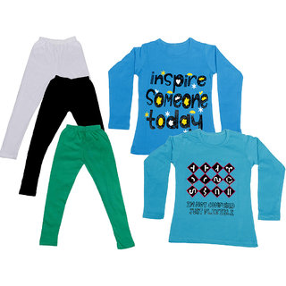 IndiWeaves Girls Cotton Full Sleeves Printed T-Shirt and Cotton Legging (Pack of 5)_White::Black::Green::Blue::Blue_Size: 6-7 Year