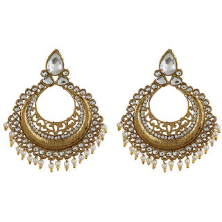 Fabula's Gold & White Zircon American Diamond AD CZ  Kundan & Pearl Traditional Ethnic Jewellery Jewellery Chandbali Drop Earrings for Women, Girls & Ladies