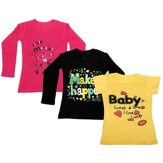 IndiWeaves Girls 2 Cotton Full Sleeves and 1 Half Sleeves Printed T-Shirt (Pack of 3)_Red::Black::Yellow_Size: 6-7 Year