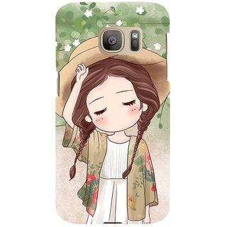 ifasho Lovely Girl with Hat Back Case Cover for Samsung Galaxy S7 Edge