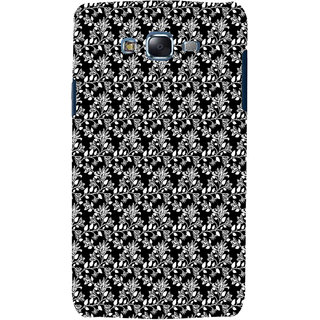 ifasho Animated Pattern design black and white flower in royal style Back Case Cover for Samsung Galaxy J7