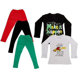 IndiWeaves Girls Cotton Full Sleeves Printed T-Shirt and Cotton Legging (Pack of 5)_Red::Black::Green::Black::white_Size: 6-7 Year