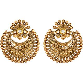 Fabula's Gold & White Kundan & Pearl Traditional Ethnic Jewellery Chandbali Drop Earrings for Women, Girls & Ladies