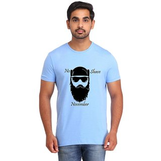 Snoby NO SHAVE NOVEMBER Blue Printed T-shirt