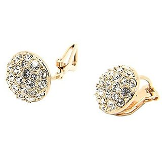 Leiothrix Elegant Golden Roundness Shape Ear Stud with Rhinestone for Women and Girls Apply to Weeding Party Casual