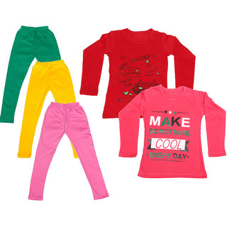 IndiWeaves Girls Cotton Full Sleeves Printed T-Shirt and Cotton Legging (Pack of 5)_Green::Yellow::Pink::Red::Red_Size: 6-7 Year