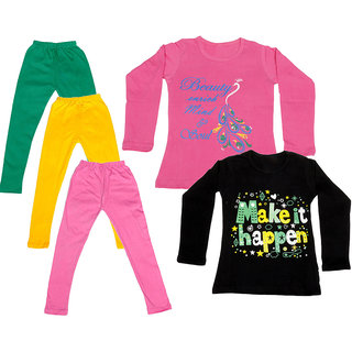 IndiWeaves Girls Cotton Full Sleeves Printed T-Shirt and Cotton Legging (Pack of 5)_Green::Yellow::Pink::Pink::Black_Size: 6-7 Year