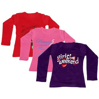 IndiWeaves Girls Cotton 3 Full Sleeves Printed T-Shirt (Pack of 2)_Red::Pink::Purple_Size: 8-9 Year