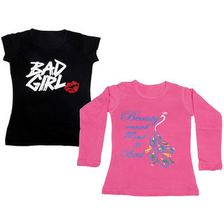 Indistar Girls Cotton 1 Full Sleeves Printed T-Shirt and 1 Half Sleeves T-Shirt (Pack of 2)_Pink::Black_Size: 8-9 Year