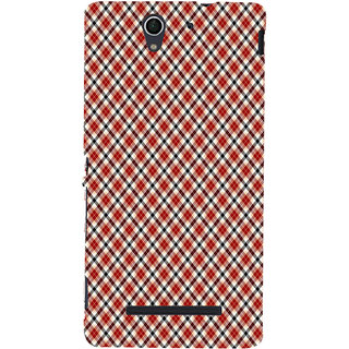 ifasho Colour Full Square Pattern Back Case Cover for Sony Xperia C3 Dual