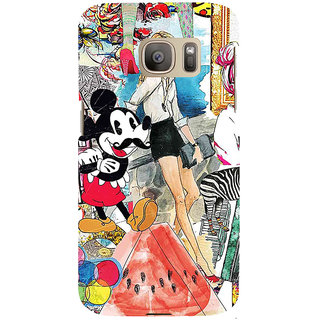ifasho Modern Art Design Pattern girl shop car food bird Back Case Cover for Samsung Galaxy S7 Edge
