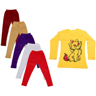 IndiWeaves Girls Cotton Full Sleeves Printed T-Shirt and Cotton Legging (Pack of 6)_Maroon::Beige::White::Purple::Red::Yellow_Size: 6-7 Year