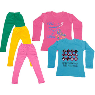 IndiWeaves Girls Cotton Full Sleeves Printed T-Shirt and Cotton Legging (Pack of 5)_Green::Yellow::Pink::Pink::Blue_Size: 6-7 Year