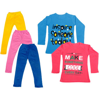IndiWeaves Girls Cotton Full Sleeves Printed T-Shirt and Cotton Legging (Pack of 5)_Yellow::Pink::Blue::Blue::Red_Size: 6-7 Year