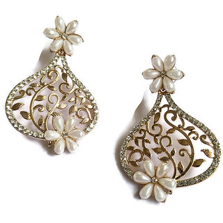 Fabula's Gold & White Pearl Traditional Ethnic Jewellery Floral Filigree Drop Earrings for Women, Girls & Ladies