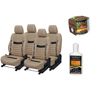 Pegasus Premium Seat Cover for  Volkswagen Vento With Aerozel Wild Mist Gel Perfume and Dashboard polish
